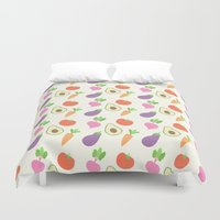 vegetable Duvet Covers featuring Mixed Vegetable by adorkible