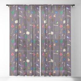 Assorted Witchery Repeating Pattern Dark purple Sheer Curtain