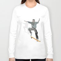 skateboard Long Sleeve T-shirts featuring Skateboard 2 by Aquamarine Studio