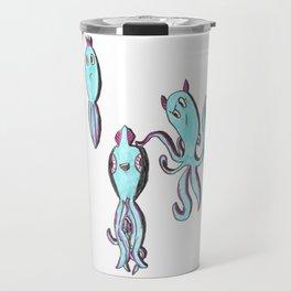 Three Blue Squids Travel Mug