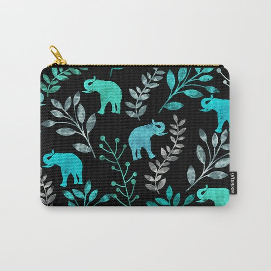 Watercolor Flowers & Elephants IV Carry-All Pouch