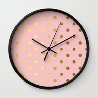 bisexual Wall Clocks featuring Golden polka dots on rose gold backround   by Better HOME