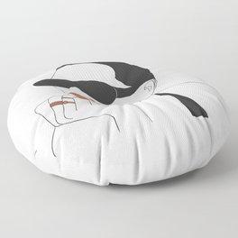 Sophisticated Edgy Woman Portrait Floor Pillow