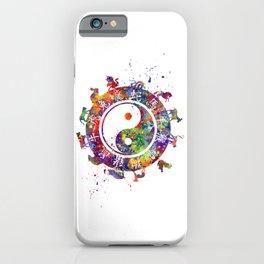 Zodiac Wheel Art Astrology Gift Yin Yang Symbol Art iPhone Case