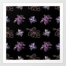 Quercus (black, purple) Art Print