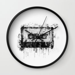 cassette / tape Illustration black and white painting Wall Clock