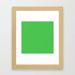 Solid Bright Kelly Green Color Framed Art Print