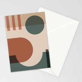 42501-1-p1 Green & Burnt Orange, Bauhaus Style Art Set, Boho decor Stationery Cards
