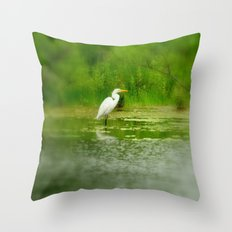 Marsh Egret Throw Pillow