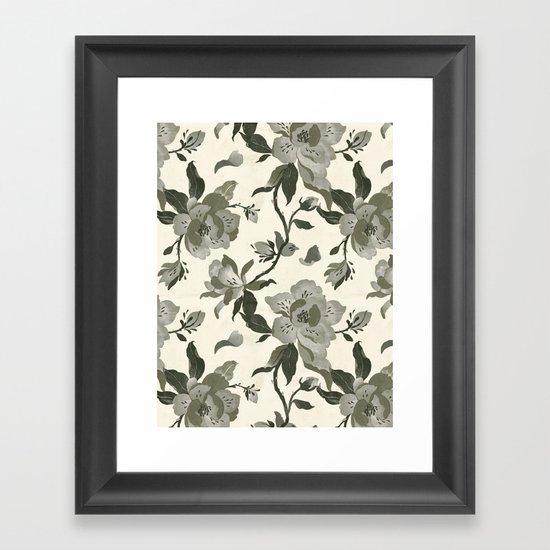 Black Magnolia Pattern Framed Art Print
