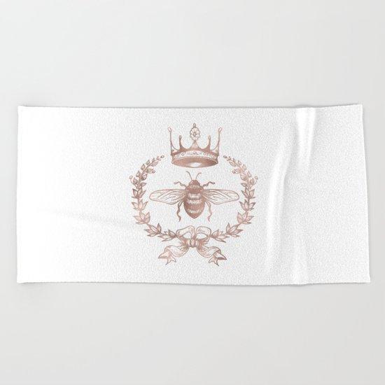 Queen Bee in Rose Gold Pink Beach Towel