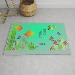 Colored Fish and Seahorse Rug