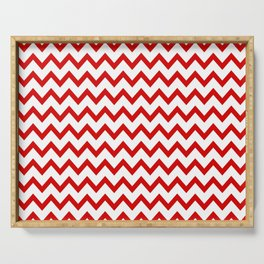 Red Chevron Serving Tray