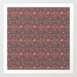 Flowers In Coral Red Art Print