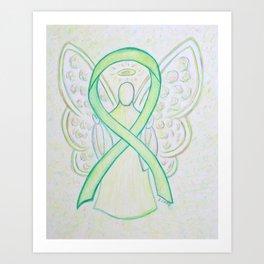 Lime Green Awareness Ribbon Angel Art Painting Art Print