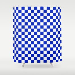 Cobalt Blue and White Checkerboard Pattern Shower Curtain