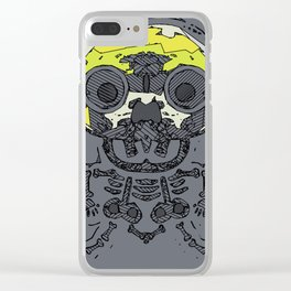 yellow skull and bone graffiti drawing with grey background Clear iPhone Case