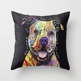 Colourful Pit Bulls, pit bull gift Throw Pillow