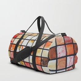 Mosaic red abstract painting by Ksavera Duffle Bag