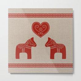 Red Dala Horses on Burlap Metal Print