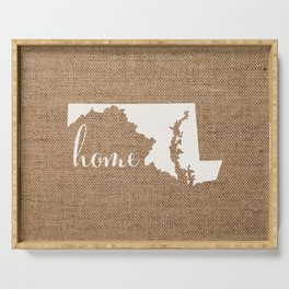 Maryland is Home - White on Burlap Serving Tray