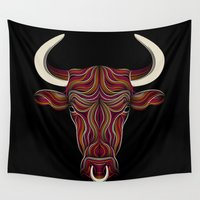 pit bull Wall Tapestries featuring BULL by Patrick Seymour