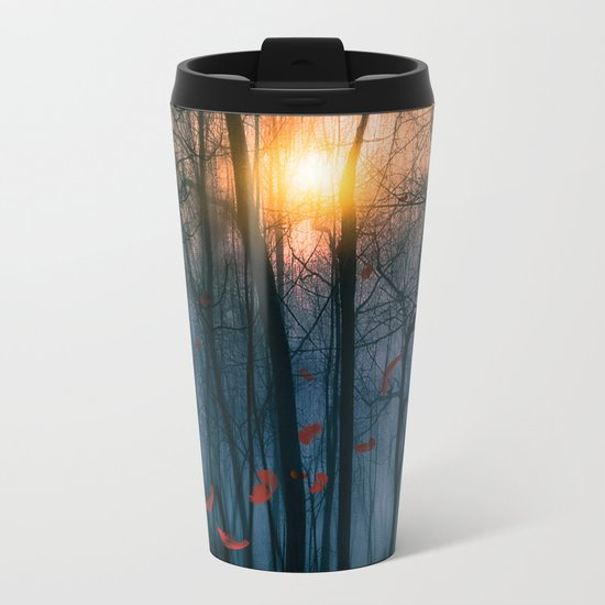 Red feather dance  (colour option) Metal Travel Mug