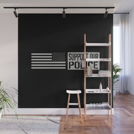 Support Our Police: Black U.S. Flag Wall Mural