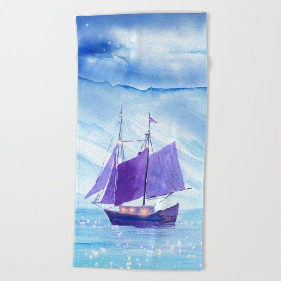 Sailing in Winter Beach Towel