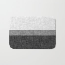Black and White Graphic Burlap Pattern Stripe Bath Mat