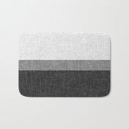 Black and White Graphic Burlap Pattern Stripe Bath Mat