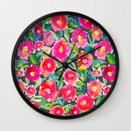 Hot floral mess - Dark Wall Clock