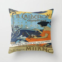 Vintage poster - A. Calderoni Gioielliere Throw Pillow