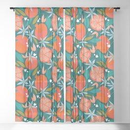 Summer Pomegranate #illustration #pattern Sheer Curtain