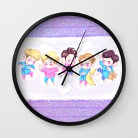 shinee Wall Clocks featuring SHINee Sleepover by sophillustration