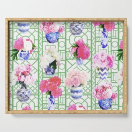 Ginger Jar Peonies on Green Trellis Serving Tray