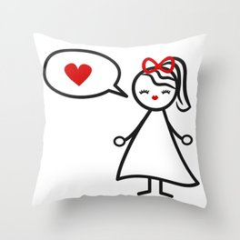cute lovely black white red stick figure girl and speech bubble with heart Throw Pillow