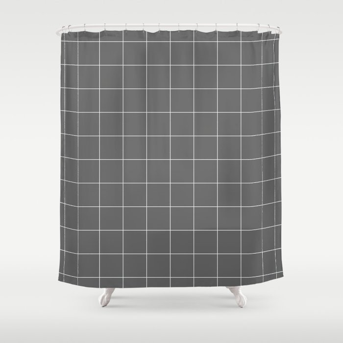 Grey And White Grid Shower Curtain