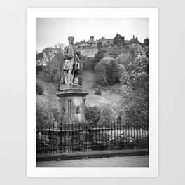 allan ramsay statue and edinburgh castle Scotland Art Print
