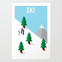ski Art Prints featuring Ski by Andrew Spencer