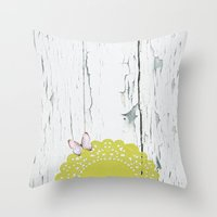 charmaine olivia Throw Pillows featuring Olivia by The ArdentSparrow