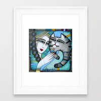 hug Framed Art Prints featuring HUG by ALBENA
