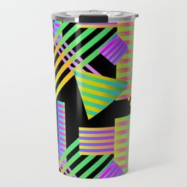 Neon Ombre 90's Striped Shapes Travel Mug
