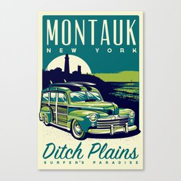 Montauk Ditch Plains Surfer's Paradise Retro Canvas Print