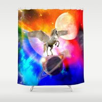 decal Shower Curtains featuring space unicorn. by haroulita