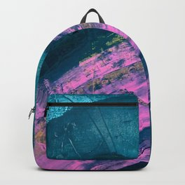 Wild [1]: a bold, vibrant abstract minimal piece in teal and neon pink Backpack
