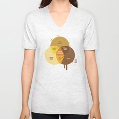poutine venn diagram Unisex V-Neck