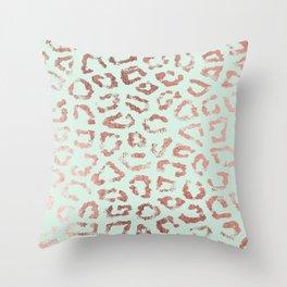 Trendy rose gold neo mint leopard animal print Throw Pillow