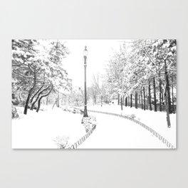Winter snow city Canvas Print