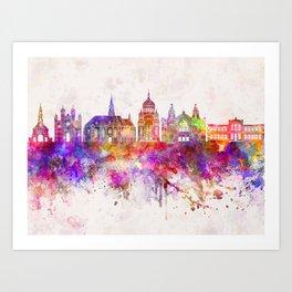 Cluj-Napoca skyline in watercolor background Art Print